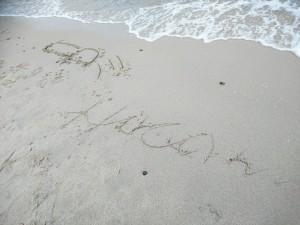 砂浜に落書き~➰
