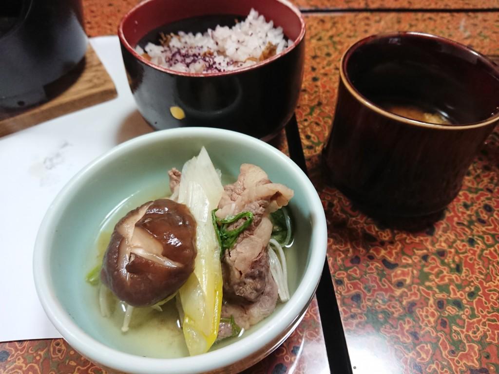 近江牛鍋 しじみご飯 お味噌汁