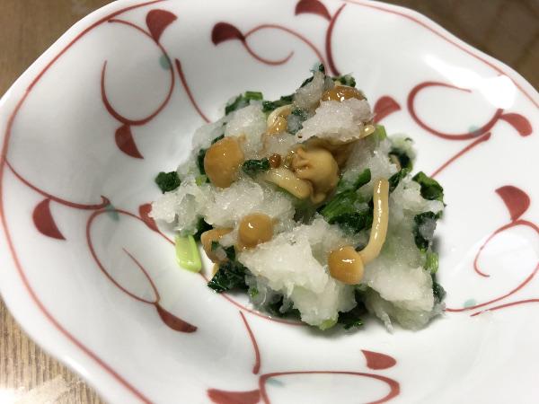 小松菜となめこのおろし和え