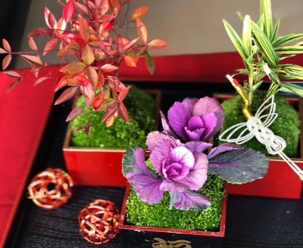 苔を使った正月飾り