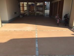 カラーコンクリート 自然石ライン
