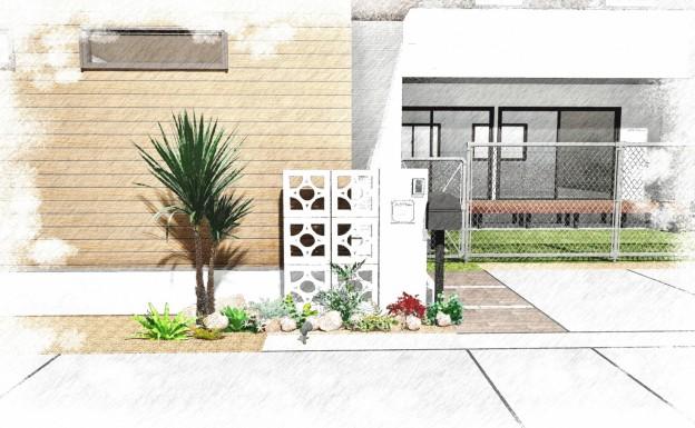 水戸市 A様邸 門壁イメージ