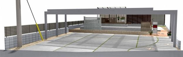 笠間市 H様邸 駐車場イメージ