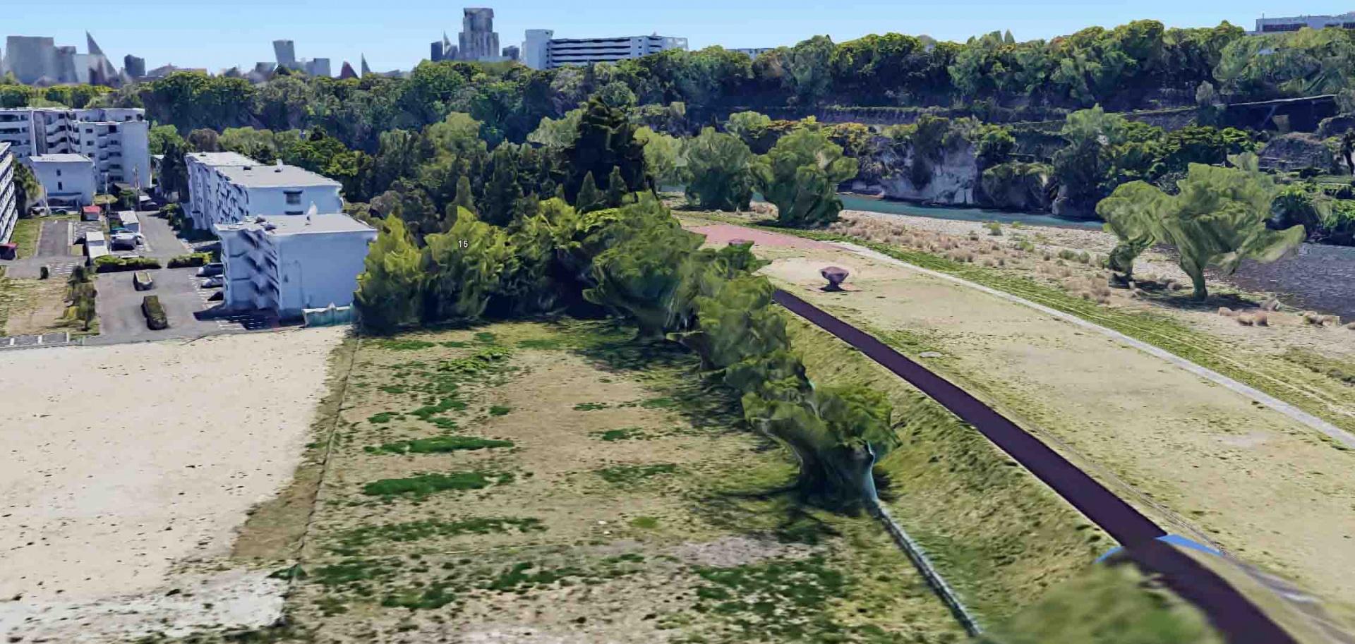 図1 違法人工芝グラウンドが造成される前の宮城第一高第二グラウンド敷地(Google Earthより)