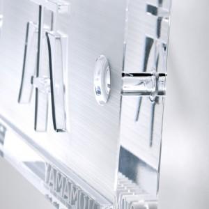 石英ガラス 浮き文字表札