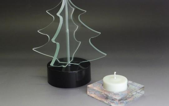 ガラス石英ガラスの香たて/ガラスのクリスマスツリー